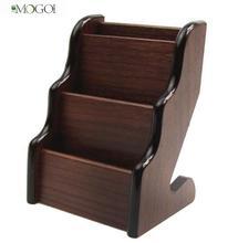 Mogoi 3 Pocket Wooden Business Name Card Holder Desktop Display Stands (Dark Brown)(China (Mainland))