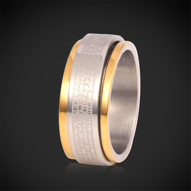 Rings For Men New Style Items Cool High Quality Stainless Steel 18K Real Gold Plated Jewelry With Gift Box 2 Layers Ring R938(China (Mainland))