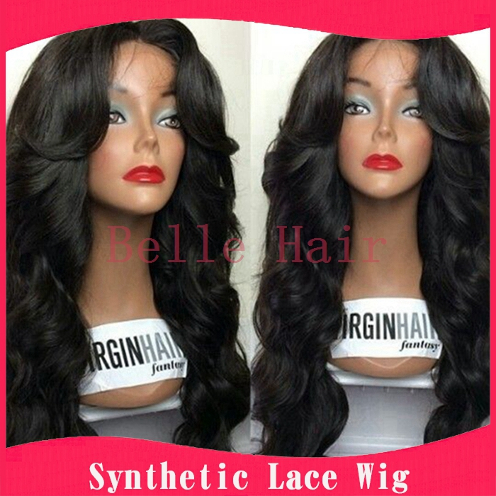 freetress synthetic body wave lace front wigs glueless black natural looking wig for black woman with