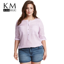 Buy Kissmilk Plus Size New Fashion Women Clothing Casual Solid O-Neck Blouse Long Sleeve Basic Tops Loose Soft Blouse Shirt 6XL 7XL for $10.19 in AliExpress store