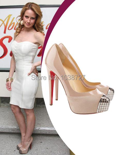 Altair Jarabo Heels nude patent leather suede silver metal sequined round toe wedding red bottom platform 140 mm heels pumps