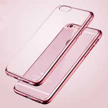 Phone Case For iPhone 6 6s Plus Luxury Ultra Thin Clear Crystal Rubber Plating Electroplating TPU Soft Mobile Phone Cover bag