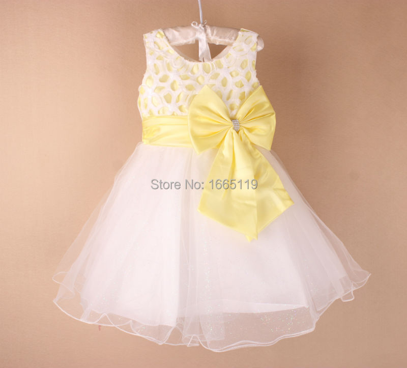 2015 new hot yellow color wedding prom baby grid girls for Baby girl dresses for weddings