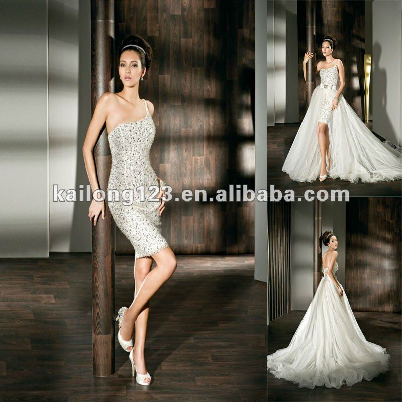 One shoulder removable tulle wrap train beaded tulle sexy for Short wedding dress with removable train