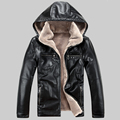 2016 new winter fur leather jacket men plus thick velvet male removable cap leather jacket zipper
