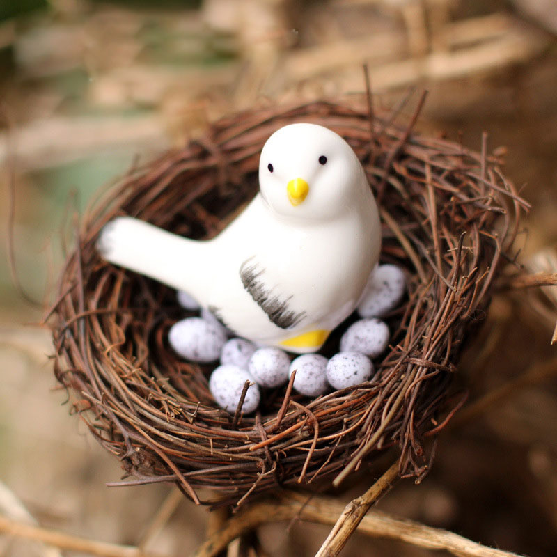 Miniature bird nests for crafts for Artificial birds for decoration