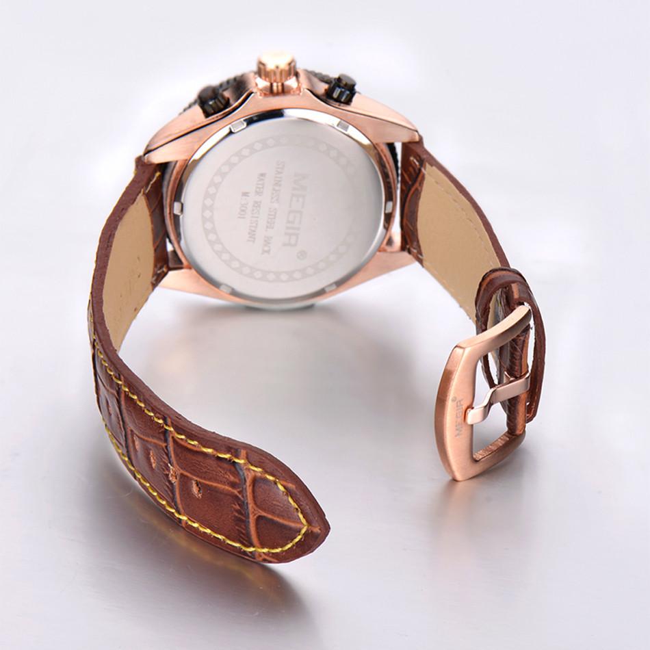 MEGIR Мужчины Хронограф Многофункциональный Спортивные Часы Аналоговый Цифровой Роскошные Подлинная Кожаный Ремешок Моды для Мужчин Часы Relogio Masculino