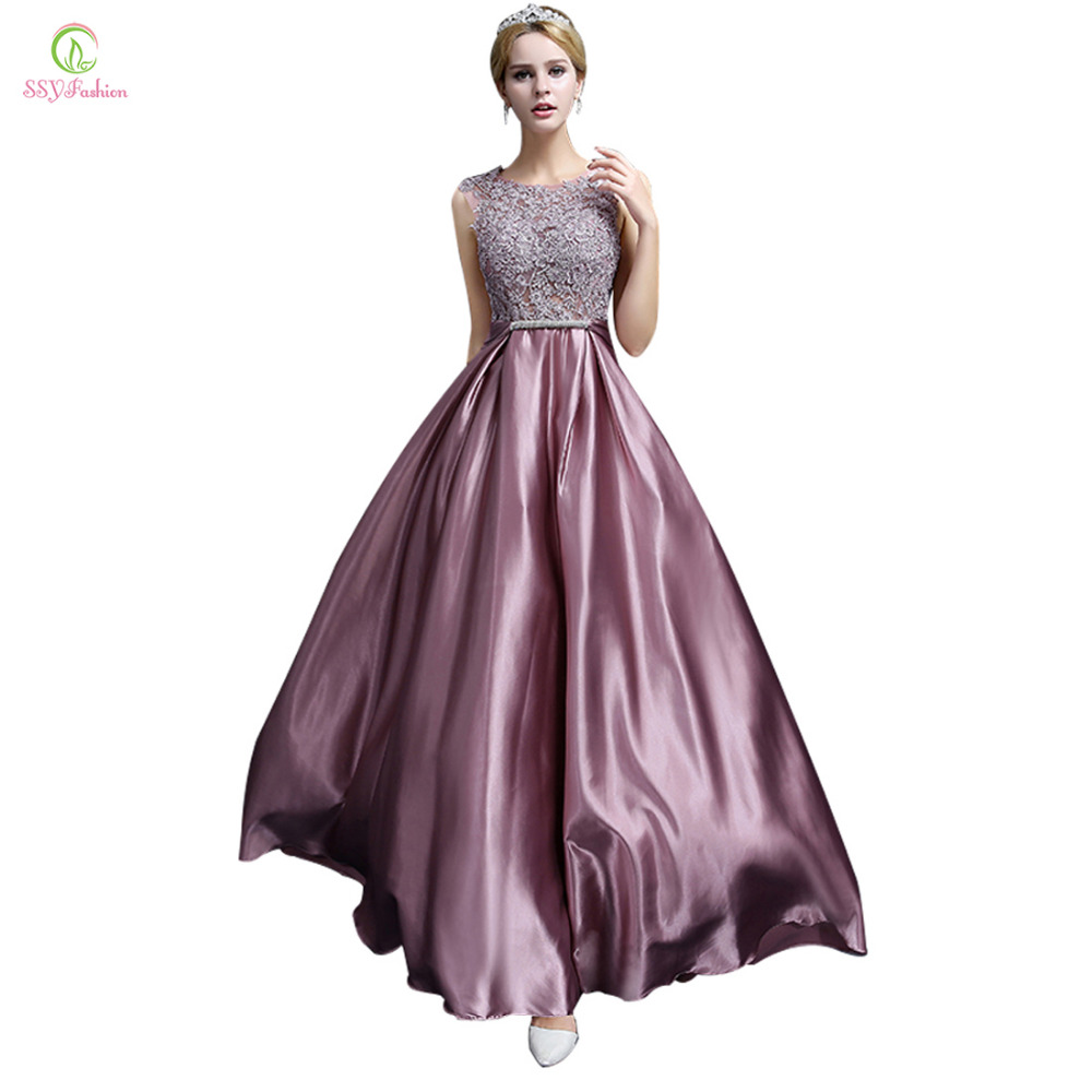 Long Evening Dress 2016 New Fashion Luxury Lace Satin Banquet Formal Dress Plus Size Bridal