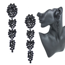 Black Long Earrings for Women Fashion Accessories Jewelry Rhinestones Party Crystal Big Earrings with Stones Black ersh30(China (Mainland))