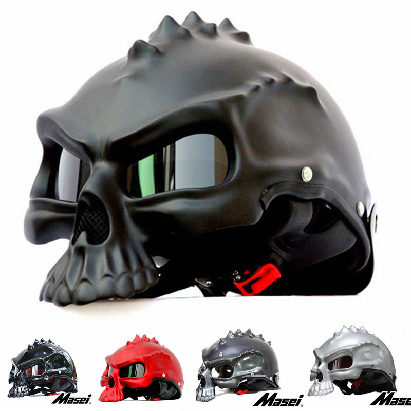 Masei 15 color 489 Dual Use Skull Motorcycle Helmet Capacete Casco Novelty Retro Casque Motorbike Half Face Helmet free shipping(China (Mainland))