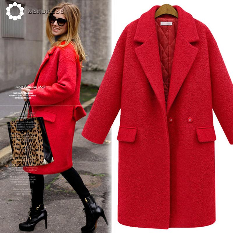 Red Cute Style Long Winter Overcoat Warm Winter Dress ...