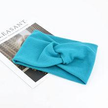 Одноцветная головная повязка для девочек, Скрученная нейлоновая резинка для волос, аксессуары для волос, ободки для девочек(China)