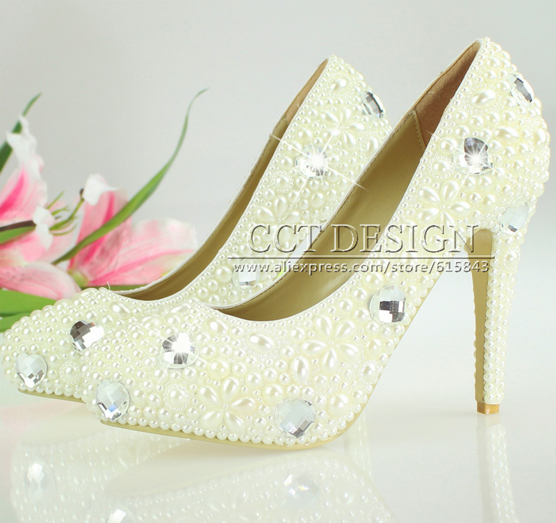 Women Pumps Sweet High Heels Shoes Wedding Shoes Rhinestones And Pearls White Ivory Bridal Party Shoes Handmade Free Shipping