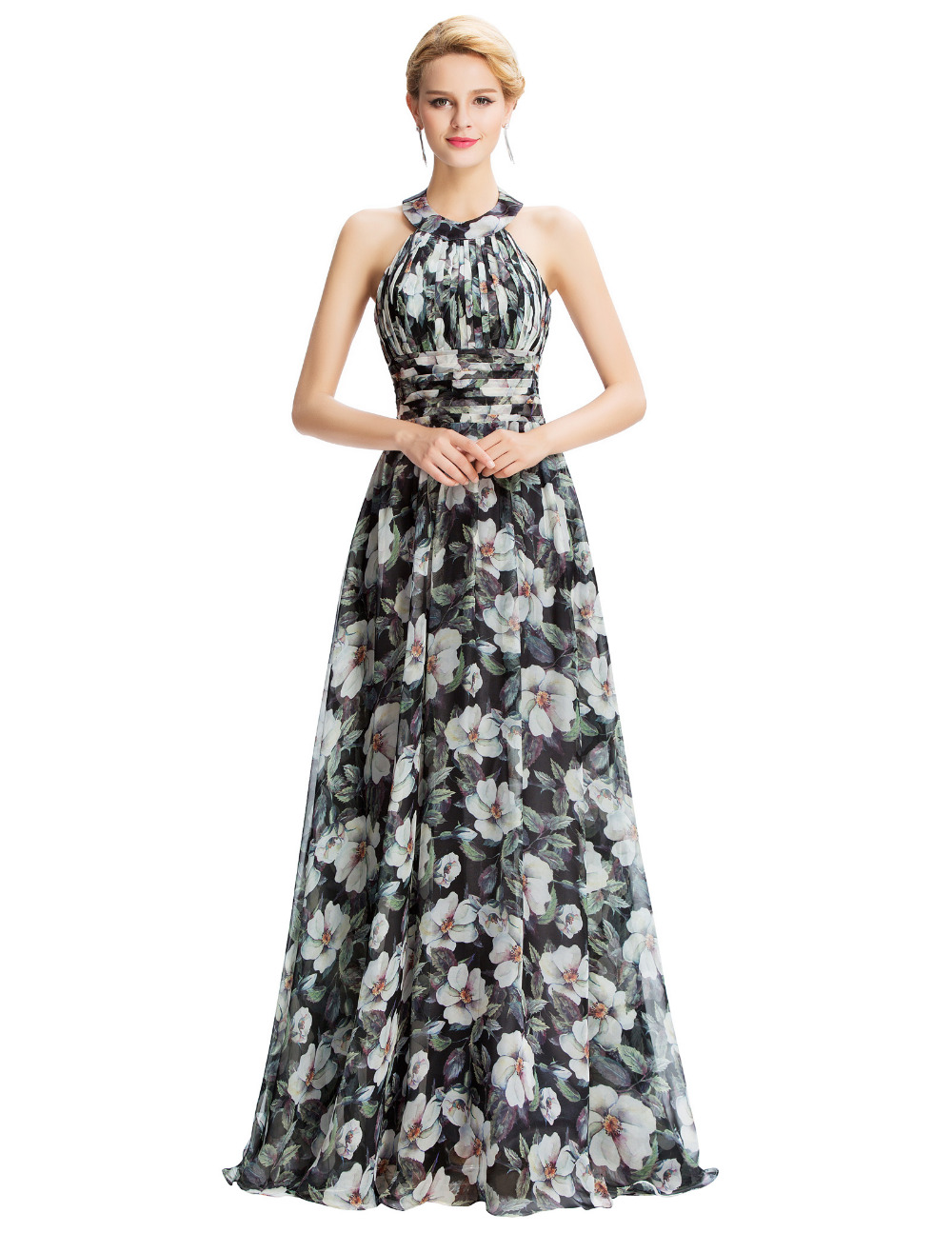 Halter Neck Black Fl Print Flowers Chiffon Evening Dresses Formal Party Gowns Long Prom Dress Celebrity