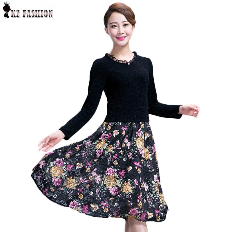 Autumn Dress Mother dress women plus size black damen kleider Middle-aged tight lace print M-3XL D5D316R