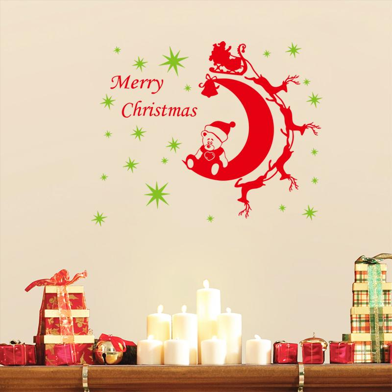 Merry christmas reindeer stars moon bear wall stickers for Christmas wall mural plastic