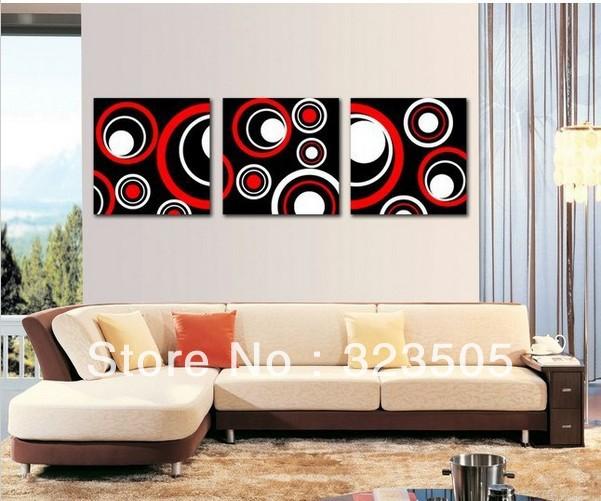 3 pe a rouge art mur de toile abstraite moderne mur d co image noir rouge peinture l 39 huile. Black Bedroom Furniture Sets. Home Design Ideas