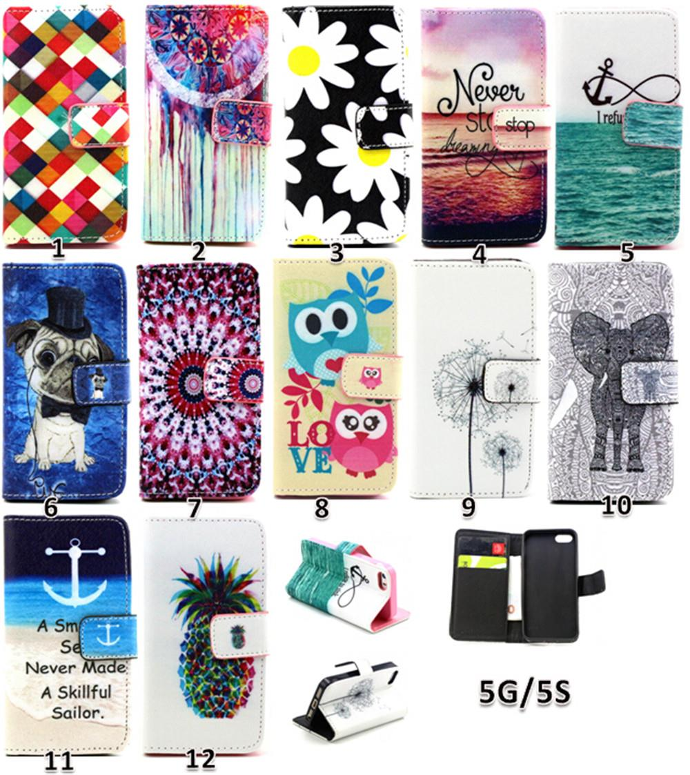 For Apple iPhone 5 5S iPhone5S Wallet Case Cute font b Chequer b font Daisy Luxury