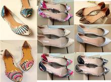 2015 Korean Fashion Women's Casual Floral Print Metal Decorative Pointed Toe Flats Shoes sapato feminino Free Shipping 11 color(China (Mainland))