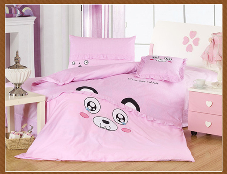 Pink CUTE KIDS Big Eyes Bear Bedding Set Twin Full Queen Size 4PCS Cotton Bedsheet / Qulit Covet / Comforter Set For Little Girl(China (Mainland))