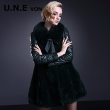 [ 2014 ] UNE fox fur collar winter new Korean loose long down jacket leather leather women(China (Mainland))