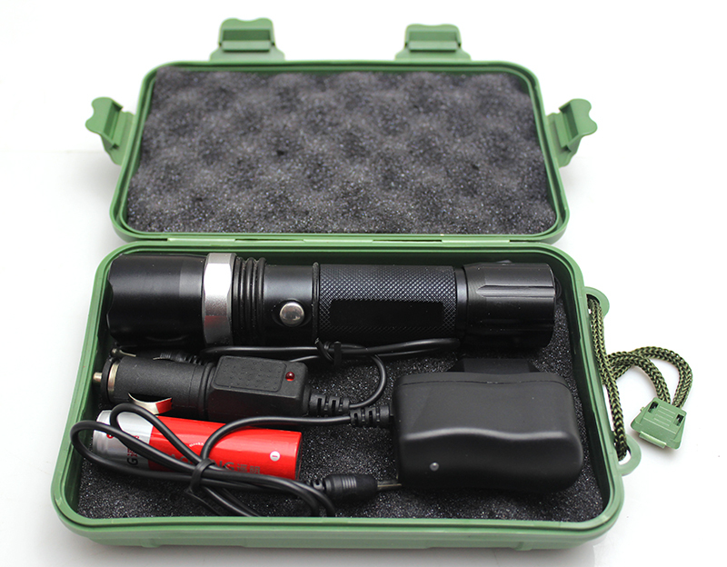 1 set police cree led rechargeable flashlight tactical led lamp for 2800mah 18650 battery include AC and car charger for camping(China (Mainland))