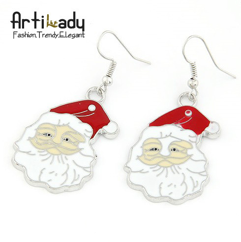 Artilady Christmas gift  jewelry bag free  Santa Claus design earrings for women 2013 fashion  jewelry