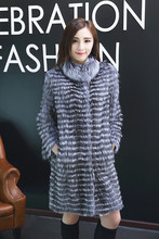 Hot Sale 2015 autumn Women Genuine Silver Fox Fur Coats Jackets Fashion Striped Style(China (Mainland))