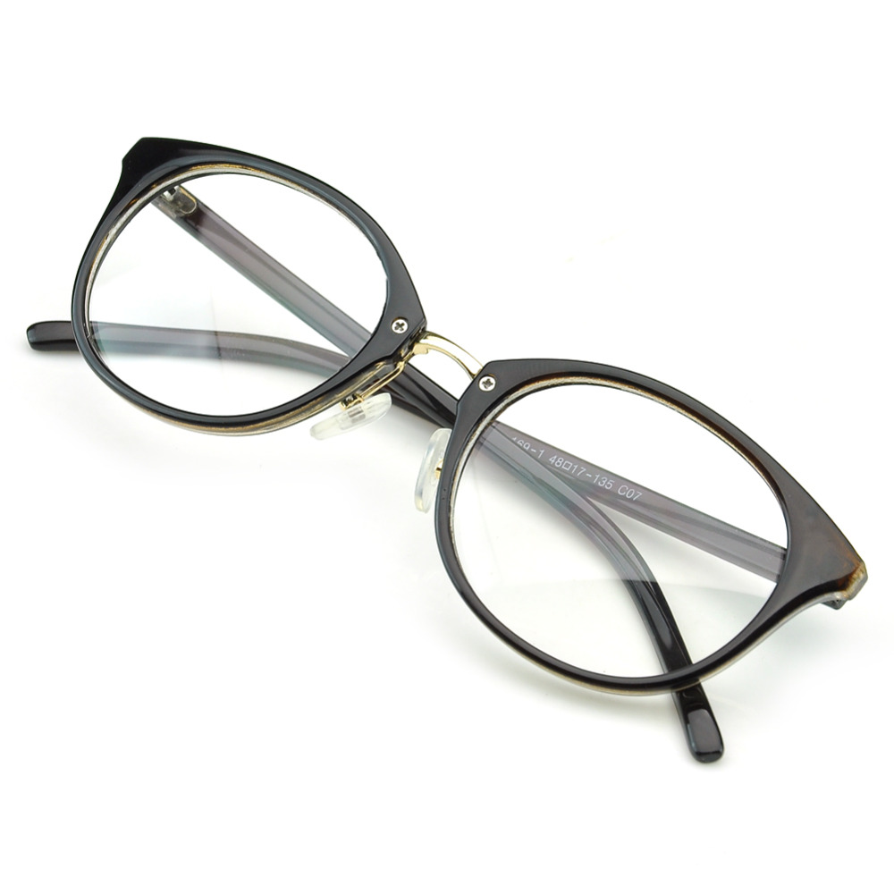 PenSee Retro Oval Eyeglasses Bold Frame Clear Lens Round ...