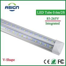 V-Shape Integrated LED Bulbs Tubes T8 600mm 20W 2 FT Led Tube Light 2Feet AC85-265V 96LEDs SMD2835 LED Light Super Bright 2000lm(China (Mainland))