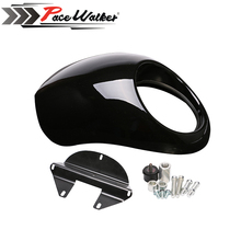 Black Plastic Headlight Front Visor Fairing Cool Mask Bezel Harley 883 XL1200 Dyna Sportster FX Motorcycle Auto - PACEWALKER RACING store