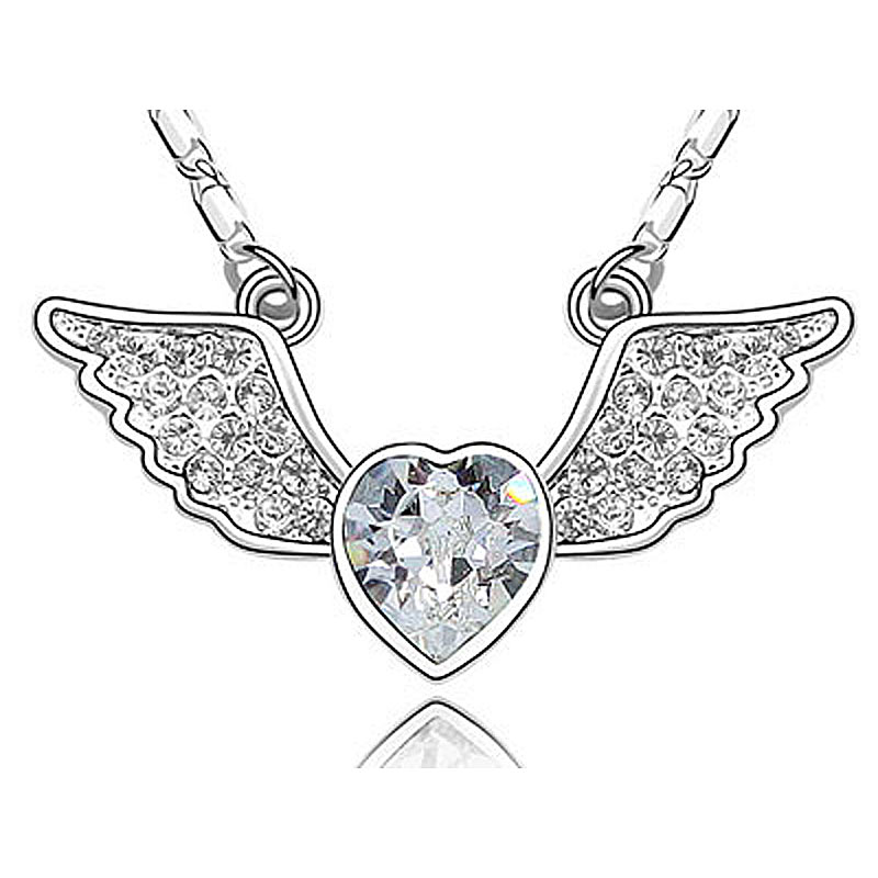 Wholesale Free Shipping Angle Wing Silver, Blue, Pink Heart Austrian Crystals Necklace CSN337(Hong Kong)