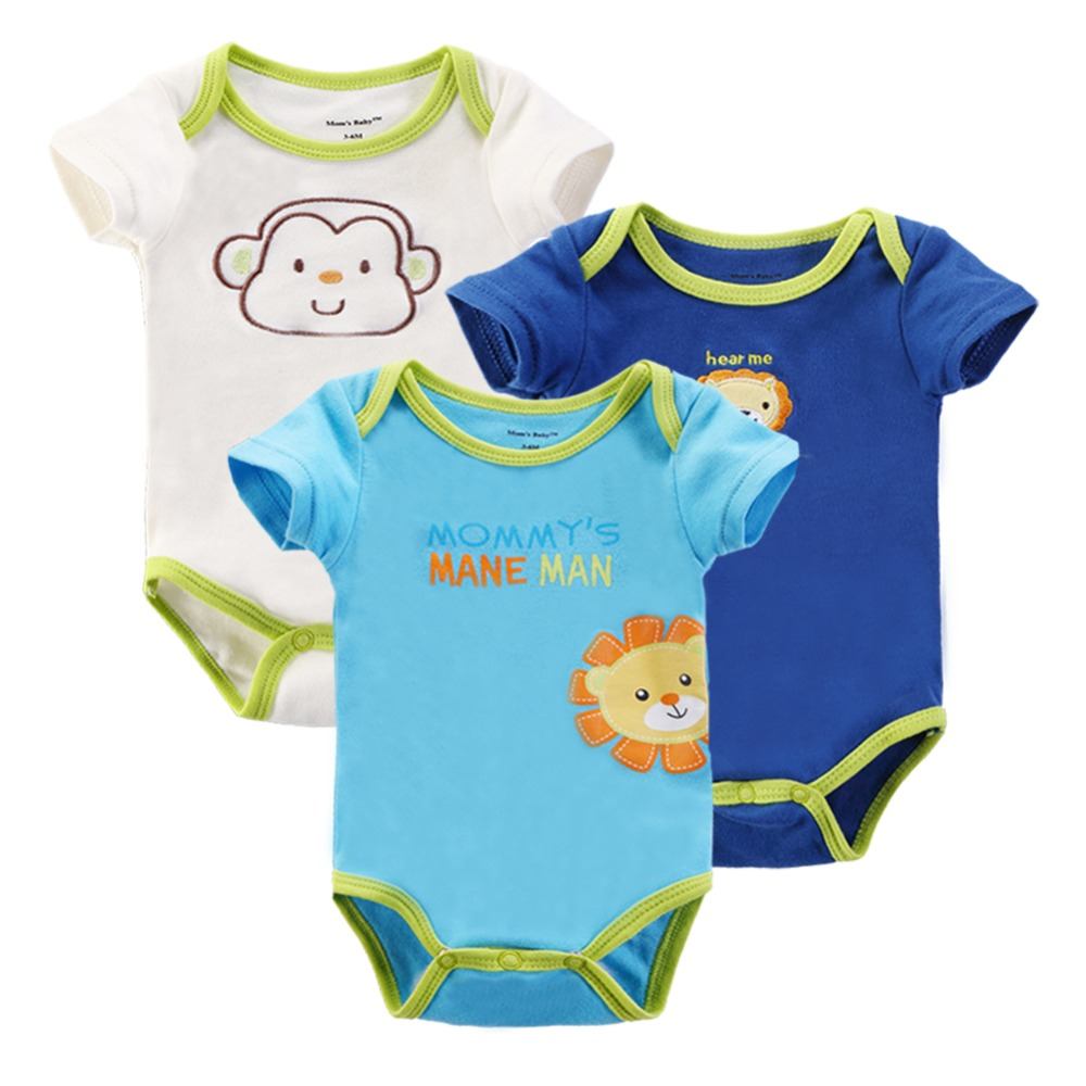 3 Pieces/lot Baby Rompers Girl Boy Short Sleeve Summer 100%Cotton Clothing Set for Newborn Next Jumpsuits & Romper for Babies(China (Mainland))