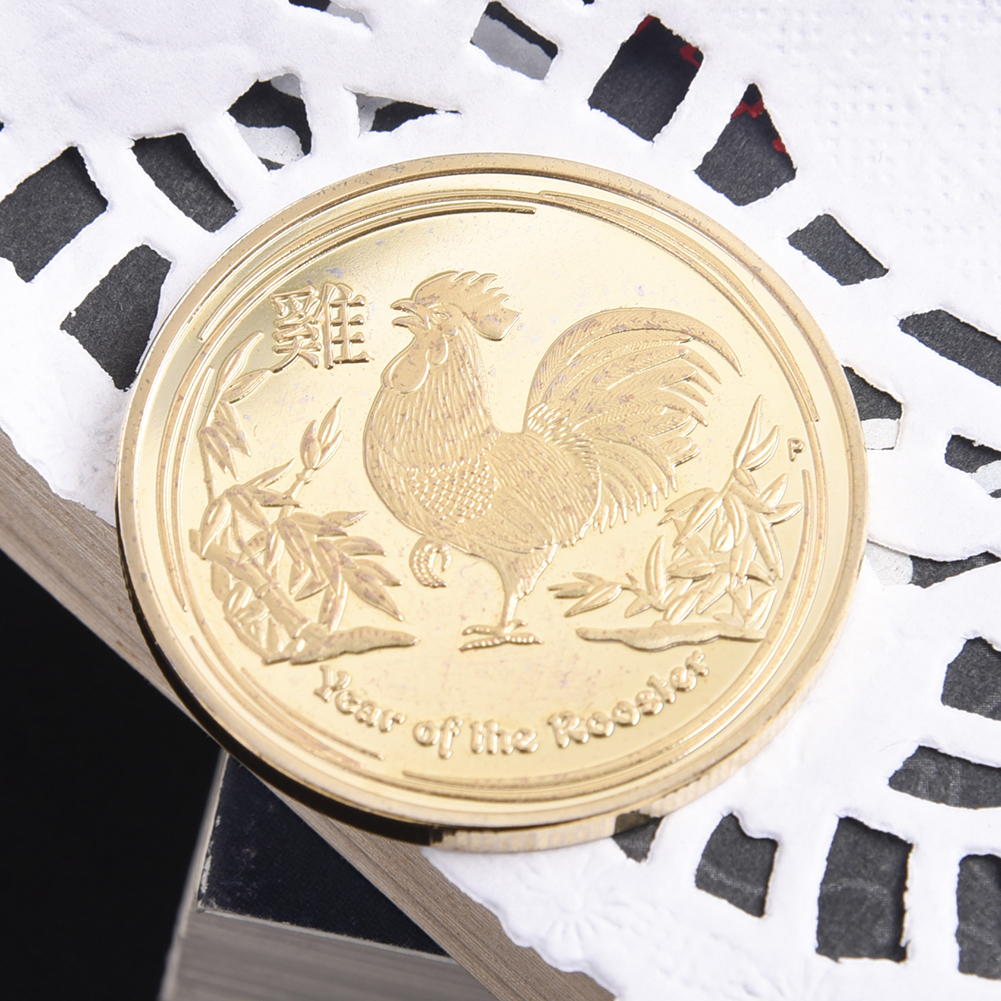 Hot Sale Golden Color 1pc 2017 Rooster Year Coin Year of the Rooster Souvenir Coins 1 Oz Plated Coin BTC132(China (Mainland))
