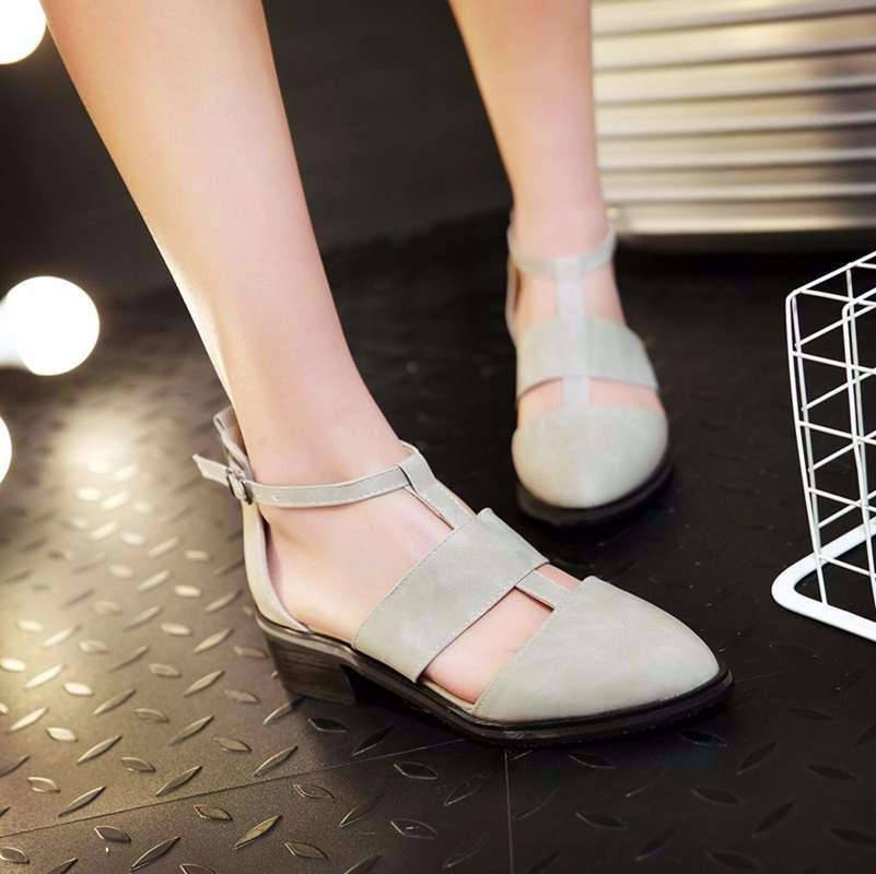 ซื้อ พลัสSize34-43 2016ใหม่ผู้หญิงG Ladiatorรองเท้าแตะชี้นิ้วเท้าสีดำสบายๆสไตล์เกาหลีรองเท้าข้อเท้าในช่วงฤดูร้อนรองเท้าแตะต่ำPS1904
