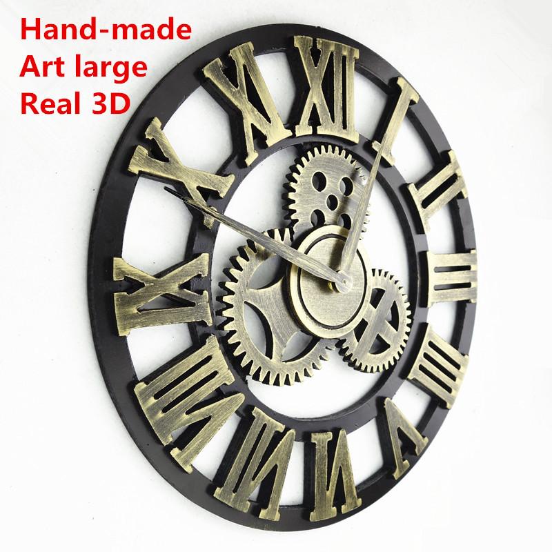 Handmade Oversized 3D retro rustic decorative luxury art big gear wooden vintage l