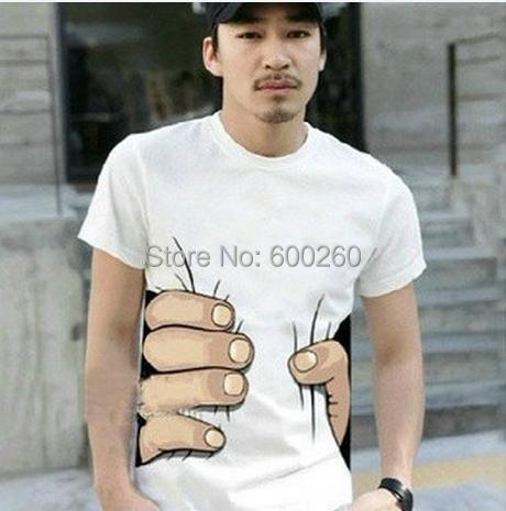 Summer Hot Sale Cool Fashion Men's Clothing O-neck Short Sleeve Men Shirts 3D Big Hand T Shirt men Tshirts Tops Tees For Man(China (Mainland))
