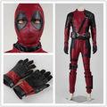 2016 New Arrival Movie Deadpool Cosplay Costume Suit X Men Adult Men Halloween Outfit Uniform Custom