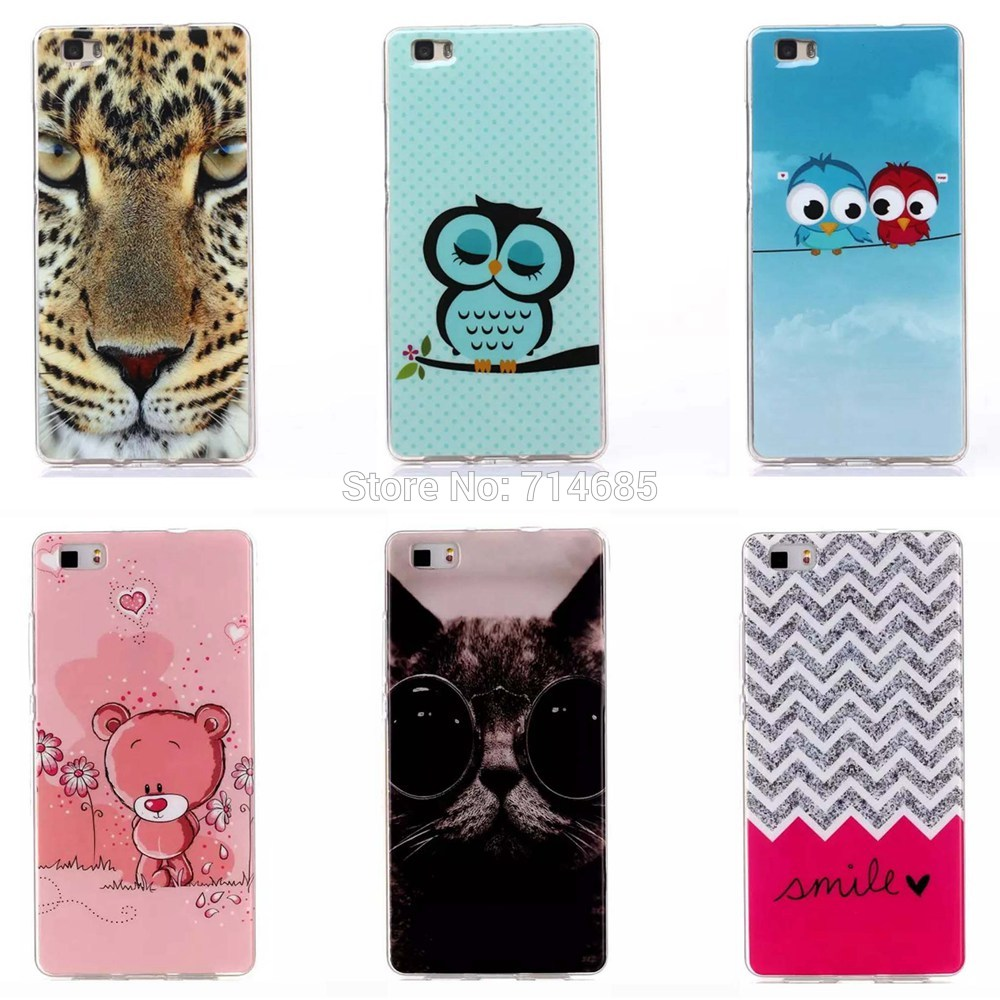 Colorful Pattern Soft TPU Protective Phone Case Huawei P8 Lite & P 8 mini (5 inch) Back Cover Polka Dots Owl Tiger - TATUKE Store store