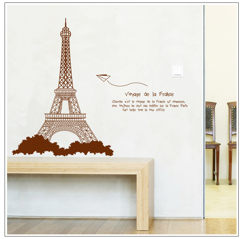 Free Shipping I Love Paris Living Room Vinyl Wall Art Decals Eiffel Tower Decoration Stickers For Kids Room Wallpapers AY726B(China (Mainland))