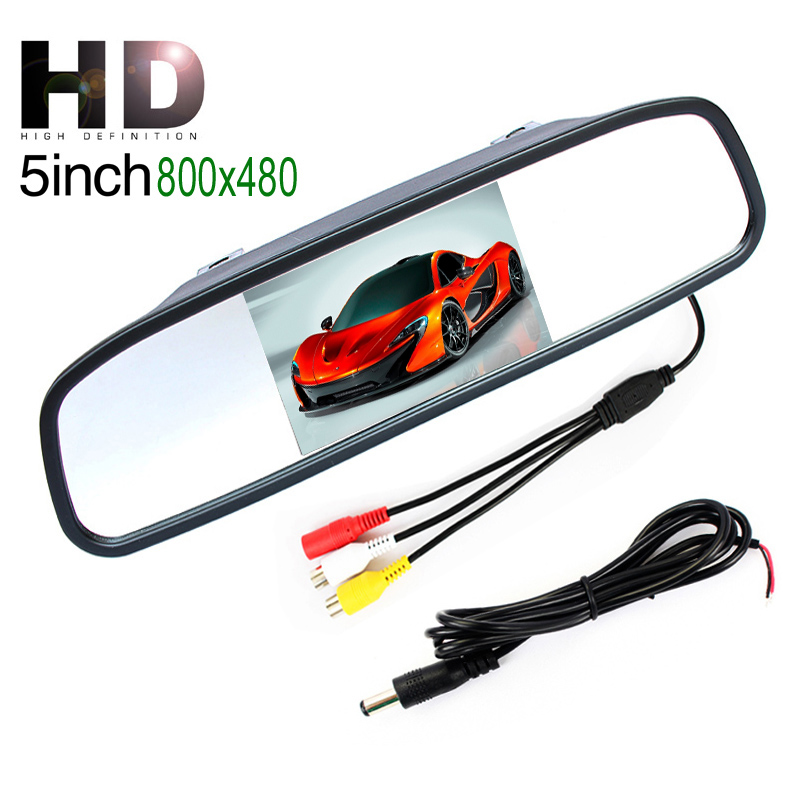 "5"" inch 800*480 Resolution Digital TFT LCD Mirror Car Parking Rear View Monitor With 2 Video Input Connect Rear / Front Camera(China (Mainland))"