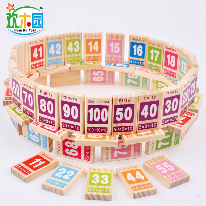 Free shipping Kids Wooden 100PCS dominoes blocks, Digital addition and subtraction teaching aid blocks, baby block toys(China (Mainland))
