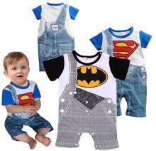 Cute Summer Newborn Clothes Baby Suit Boys Superman Batman Romper Cotton 0-24M(China (Mainland))