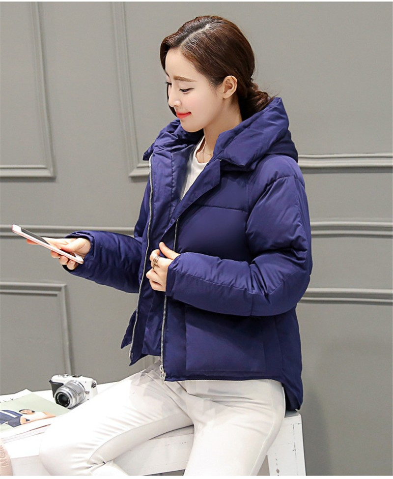 2016 Winter Women Warm Coat Loose Bread Padded Down Cotton Hooded Women Parka Wadded Short Coats Jacket