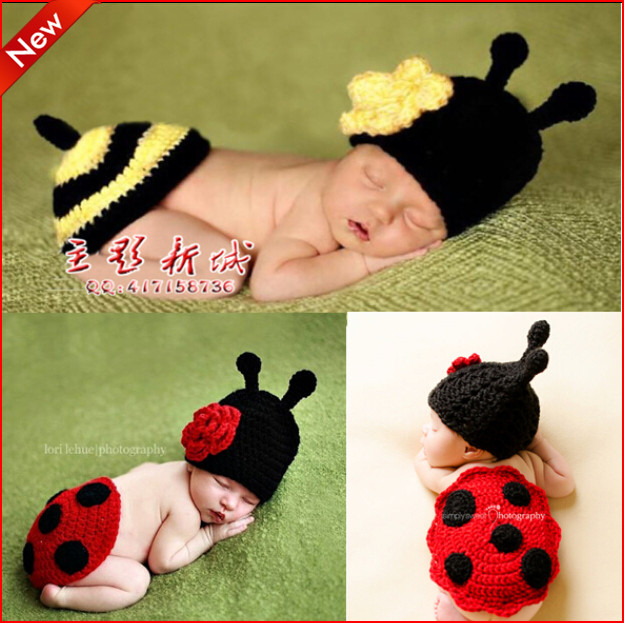 Newborn Baby Girl Boy Lovely Beetle, little bees style Knit Crochet Costume Set Clothes Unisex Photo Photograph Prop Outfits(China (Mainland))