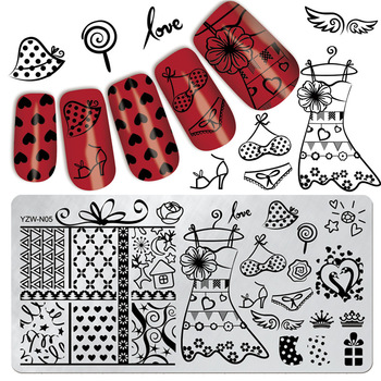 YZWLE 1 Pc Cloakroom Theme Design 12*6cm Rectangle Template Nail Art Stamp Image Plate #YZW-N05