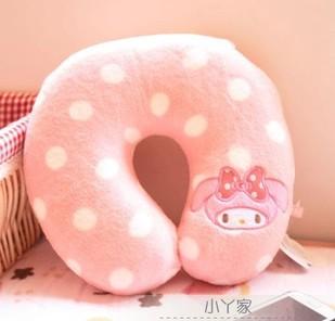 Sweet Polka Dots Pink Melody Rabbit Memory Foam U Shape Neck Pillow Cushion Travel Pillow Retail(China (Mainland))
