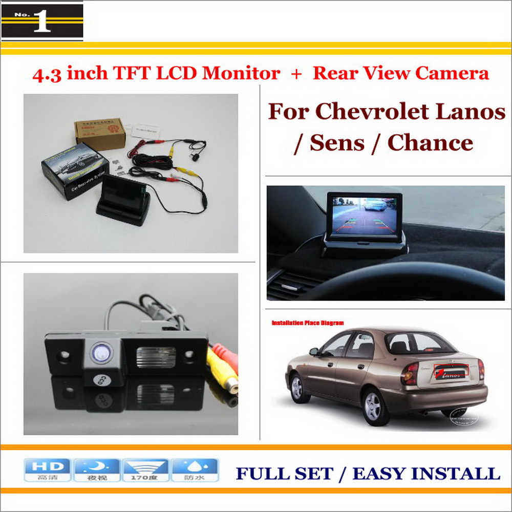 """Auto Back UP Reverse Camera + 4.3"""" Color LCD Monitor = 2 in 1 Rearview Parking System - For Chevrolet Lanos / Sens / Chance(China (Mainland))"""