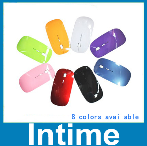Mini wireless mouse with 2.4G USB receiver super slim 8 colors gaming mouse for laptp desktop computer