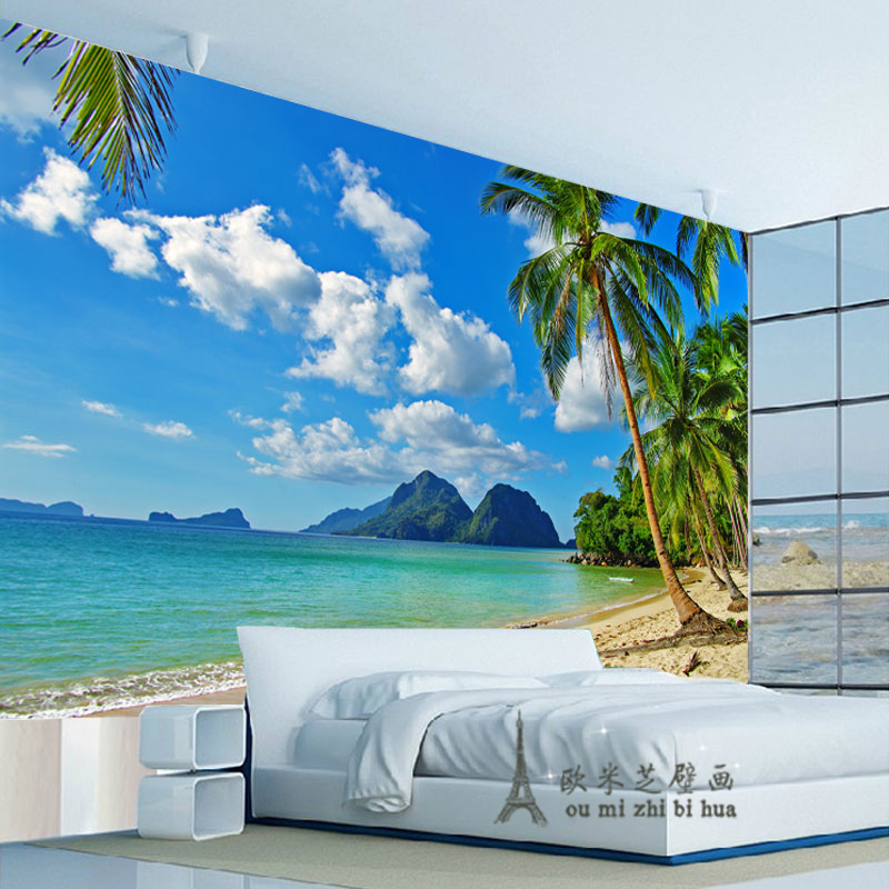 Blue sky palm beach wallpaper bedroom living room tv wall for Beach mural bedroom